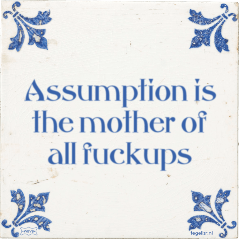 Businessplan: Assumption is the mother of all fuckups